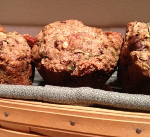 Vegan Zucchini Muffins with pecans and chocolate chips.