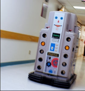 I failed to take photos of UCSF's robots, Waldo, Lisa Marie and Elvis, but they looked similar to this one from Boston's Children's Hospital (Photo credit: Justin Ide/Harvard University News Office)